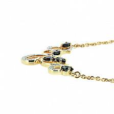 Золотое колье с сапфирами и бриллиантами Виолетта в желтом цвете