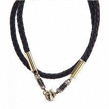 Кожаный шнурок со вставками золота и бриллиантов Гриффин