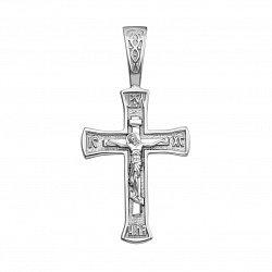 Серебряный крестик лаконичной формы 000123345
