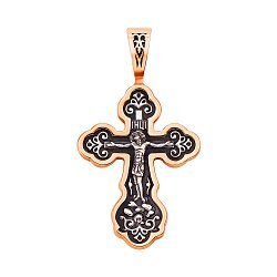Серебряный крестик с позолотой и чернением 000125240