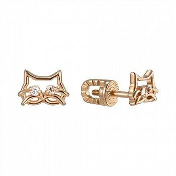 Серьги-пуссеты из красного золота с фианитами 000149362