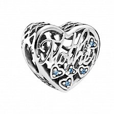 Серебряный шарм-сердечко Mother с голубыми фианитами в стиле Пандора