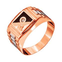 Золотой перстень-печатка Канон в красном цвете с эмалью, фианитом и насечками