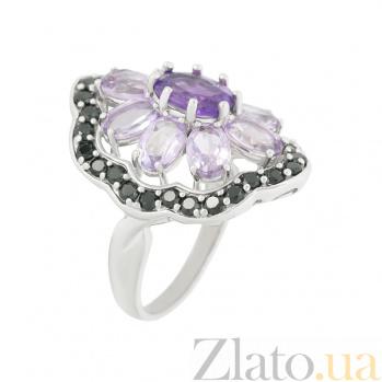 Серебряное кольцо с аметистами и шпинелью Гортензия 000026558