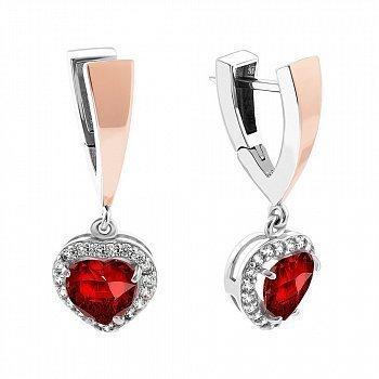 Серебряные серьги-подвески с золотыми накладками, красным и белым цирконием 000079124