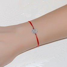 Шёлковый браслет Подковка с серебряной вставкой