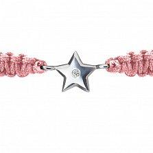 Детский плетеный браслет с cеребряной вставкой и фианитом Звездочка 8-8см