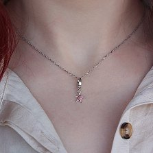 Серебряный подвес Морская звезда с розовой эмалью