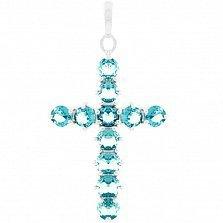 Серебряный крестик Надин с топазом лондон