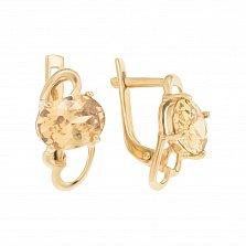 Золотые серьги Люсина с фианитом цвета шампань