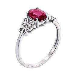 Кольцо из белого золота с рубином и бриллиантами 000137784