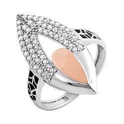Серебряное кольцо с золотой накладкой, фианитами, черной эмалью и родием 000087700
