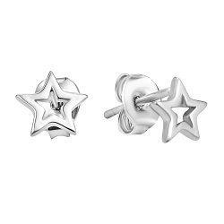 Серебряные пуссеты-звездочки в стиле минимализм 000106877
