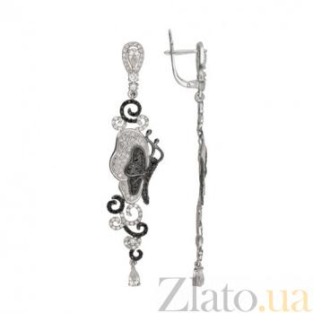 Серьги из белого золота с фианитами Джульетта VLT--ТТТ2488