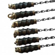 Набор шампуров Дикие животные с рукоятками из бронзы и дуба и кожаным чехлом