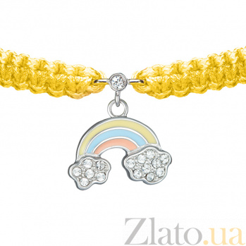 Детский плетеный браслет с эмалью и фианитами Радуга в облаках, 16-10см 000080618
