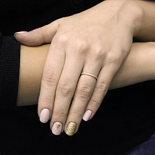 Золотое кольцо Мехелен в белом цвете с бриллиантовой дорожкой