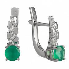 Серебряные серьги Оттепель с зелёным агатом и фианитами