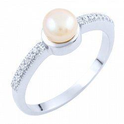 Серебряное кольцо с жемчугом и фианитами 000055811