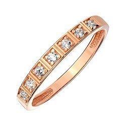 Кольцо из красного золота с фианитами 000140001