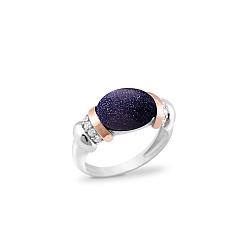 Серебряное родированное кольцо Амели с золотыми накладками, темно-синим авантюрином и фианитами