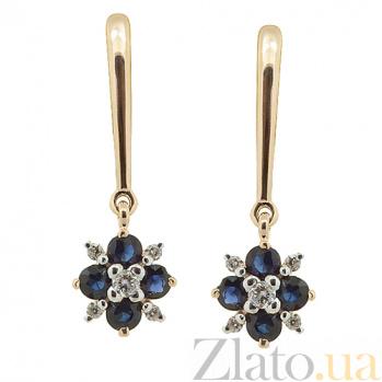 Золотые серьги с бриллиантами и сапфирами Гера ZMX--EDS-6853_K