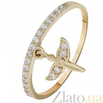 Золотое кольцо с подвеской Ангел 000032757