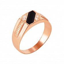 Перстень-печатка в красном золоте Сила с черным ониксом и фианитами