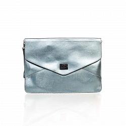 Кожаный клатч Genuine Leather 8052 серебристого цвета с механическим замком и короткой ручкой