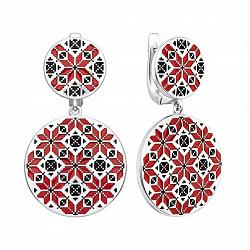 Серебряные серьги-подвески с красной и черной эмалью 000133736
