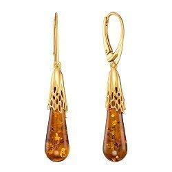 Серебряные серьги-подвески с янтарем и позолотой 000137566