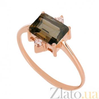 Золотое кольцо с раухтопазом и фианитами Мадлен VLN--112-943-2