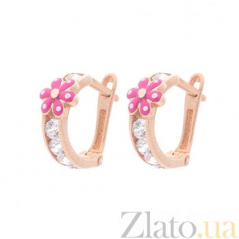 Детские золотые серьги Цветики с розовой и белой эмалью и белым цирконием 000091801