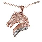 Кулон из красного золота Лошадь с бриллиантами