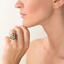 Дизайнерский перстень Ночной орнамент в желтом золоте с насечками и черной эмалью