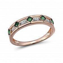 Кольцо из красного золота Эмили с бриллиантами и изумрудами