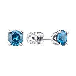 Серебряные серьги-пуссеты с синей шпинелью 000145943