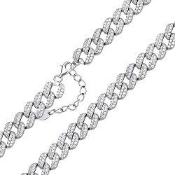 Серебряный браслет с усыпкой из фианитов 000125682