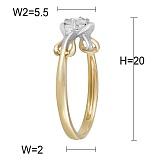 Кольцо Ядвига из комбинированного золота с бриллиантами