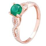 Золотое кольцо с зелёным ониксом Асти