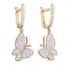 Золотые серьги-подвески с фианитами Парящие бабочки