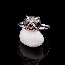 Золотое кольцо Вечный праздник с раухтопазом и бриллиантами