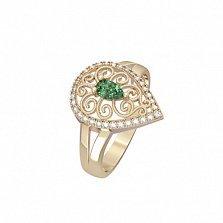 Золотое кольцо Мелинда с изумрудом и бриллиантами