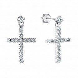 Серебряные серьги-подвески Крестики с фианитами 000071601