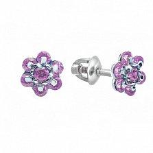 Серебряные серьги-пуссеты Плюмерия с розовыми фианитами