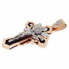 Золотой крест со вставками оникса и бриллиантов Ангел