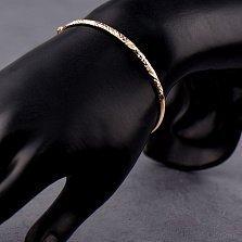 Литой золотой браслет в красном цвете Жадин с насечками
