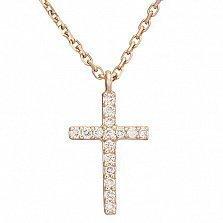 Колье с крестиком в красном золоте Вера с бриллиантами