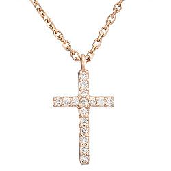Колье с крестиком в красном золоте с бриллиантами 000045867