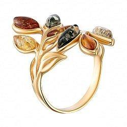 Серебряное кольцо с разноцветным янтарем и позолотой 000139194